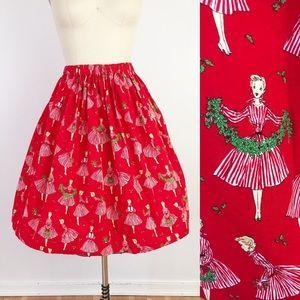 Christmas Holly Jolly Retro Full Skirt Red Elastic